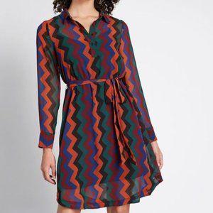 Modcloth Chevron Print A Fine Design Shirt Dress